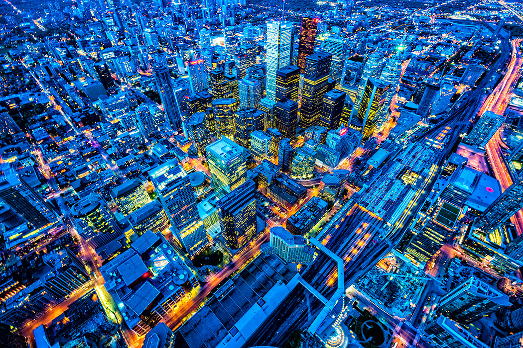 toronto Financial District Cityscape At Dusk